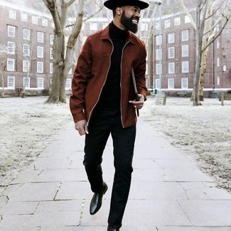 Hat Outfits For Men: A brown harrington jacket and a hat are a laid-back pairing that every style-savvy gentleman should have in his closet. Complete your look with a pair of black leather chelsea boots to completely jazz up the outfit.