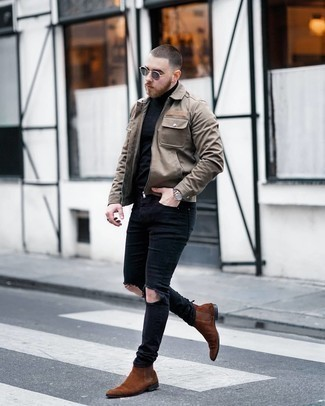 Black Ripped Skinny Jeans Outfits For Men: Fashionable and functional, this combination of a tan harrington jacket and black ripped skinny jeans delivers variety. Spice up this outfit with a dressier kind of shoes, such as these brown suede chelsea boots.