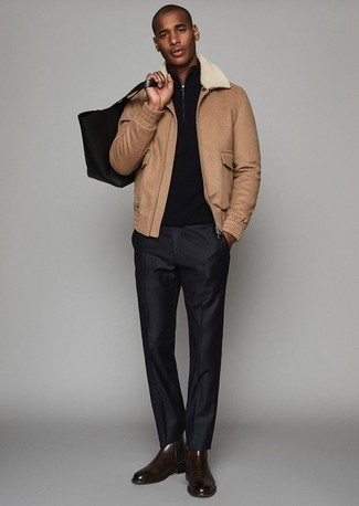 How to Wear a Tan Harrington Jacket: Channel your masculine sophistication with a tan harrington jacket and black dress pants. Dark brown leather chelsea boots will be the ideal addition to this ensemble.