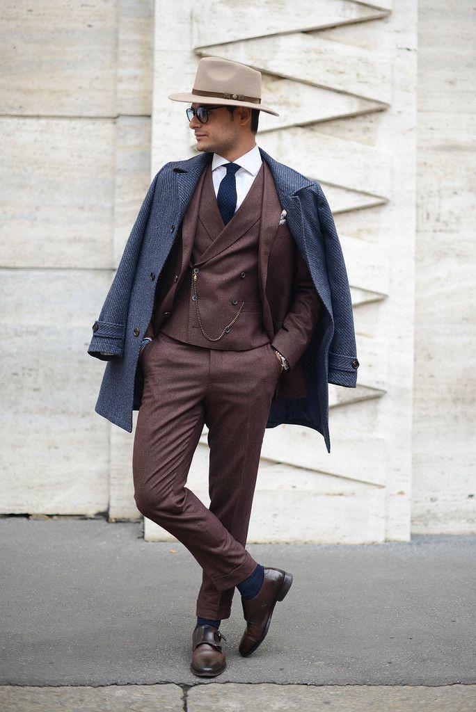 men 39 s tan wool hat white dress shirt navy tie dark. Black Bedroom Furniture Sets. Home Design Ideas