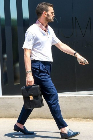How to Wear Navy Leather Loafers For Men: A white henley shirt and navy chinos are a cool combination worth having in your current fashion mix. A pair of navy leather loafers effortlessly boosts the style factor of this look.