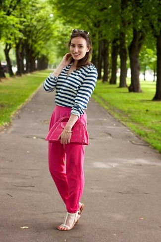 How to wear: white and navy horizontal striped henley shirt, hot pink dress pants, white leather flat sandals, hot pink leather clutch