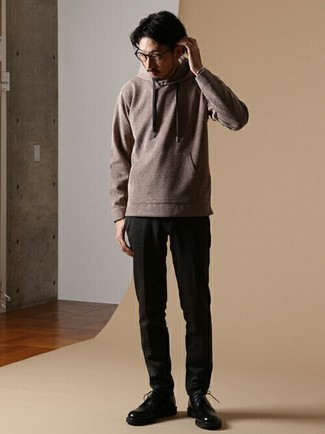 Brown Hoodie Outfits For Men: For comfort dressing with a contemporary spin, go for a brown hoodie and black chinos. Take a classic approach with footwear and introduce a pair of black leather derby shoes to the mix.