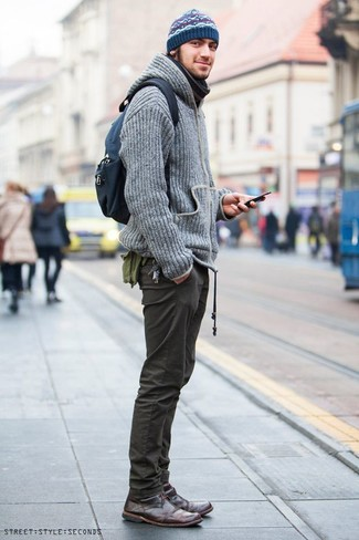 How to wear: grey knit hoodie, olive chinos, dark brown leather desert boots, navy canvas backpack