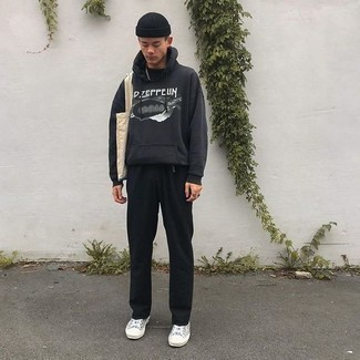 How to Wear a Black and White Print Hoodie For Men: Who said you can't make a stylish statement with a relaxed casual getup? You can do so with ease in a black and white print hoodie and black chinos. For extra style points, add grey canvas low top sneakers to the equation.