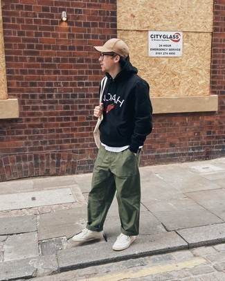 How to Wear a Tan Baseball Cap For Men: For an ensemble that's very simple but can be manipulated in many different ways, consider teaming a black print hoodie with a tan baseball cap. For a modern on and off-duty mix, add white canvas low top sneakers to the mix.
