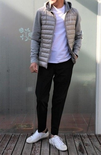 Grey Hoodie Outfits For Men: If you're seeking to take your casual look to a new height, dress in a grey hoodie and black chinos. For extra fashion points, complete this getup with a pair of white and black leather low top sneakers.