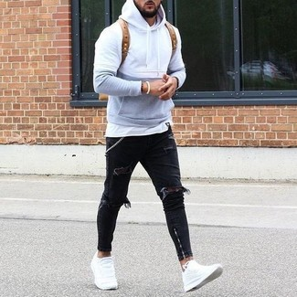 Men's Grey Hoodie, White Crew-neck T-shirt, Black Ripped Jeans, White Leather Low Top Sneakers