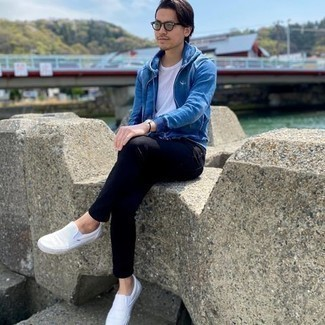 Mint Sunglasses Outfits For Men: This pairing of a blue hoodie and mint sunglasses is hard proof that a safe casual ensemble doesn't have to be boring. If you want to easily kick up your outfit with shoes, why not complete this getup with a pair of white canvas slip-on sneakers?