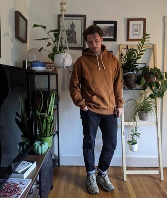 Brown Hoodie Outfits For Men: To put together a laid-back getup with a fashionable spin, pair a brown hoodie with navy jeans. Add a pair of grey athletic shoes to the mix to make the outfit more current.