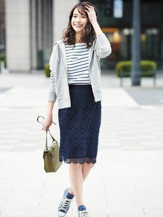How to wear: grey hoodie, white and blue horizontal striped crew-neck t-shirt, navy lace pencil skirt, navy canvas high top sneakers