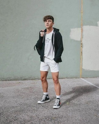 How to Wear Black and White Canvas High Top Sneakers For Men: This pairing of a black hoodie and white shorts is on the casual side yet it's also dapper and incredibly stylish. To bring out a more laid-back side of you, introduce a pair of black and white canvas high top sneakers to the mix.