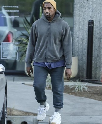 How to wear: charcoal hoodie, navy crew-neck t-shirt, charcoal sweatpants, white athletic shoes