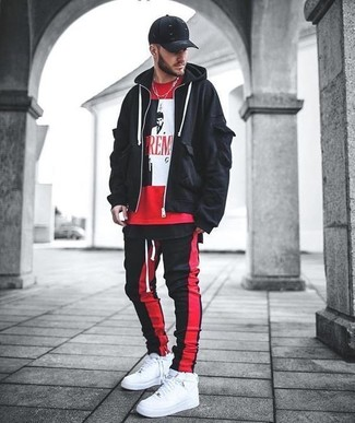 Men's Black Hoodie, Red Print Crew-neck T-shirt, Red and Black Vertical Striped Sweatpants, White Leather High Top Sneakers