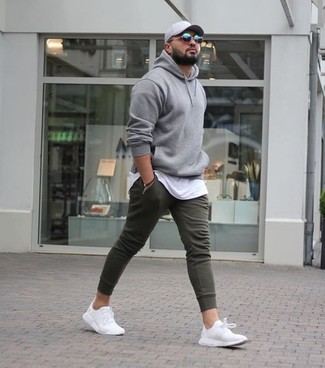 Men's Grey Hoodie, White Crew-neck T-shirt, Olive Sweatpants, White Athletic Shoes