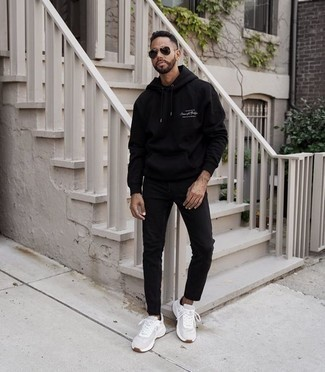 Black Jeans Relaxed Spring Outfits For Men: If you're on a mission for a city casual yet seriously stylish outfit, opt for a black print hoodie and black jeans. Bring a different twist to your outfit by sporting a pair of white athletic shoes. So when spring is in full effect, you'll find this ensemble to be your everything.