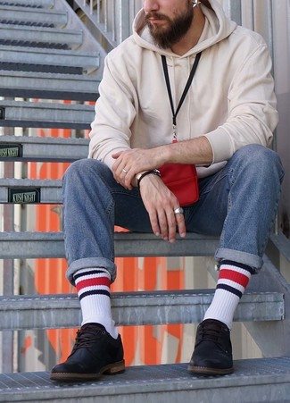 How to wear: white hoodie, blue jeans, black leather derby shoes, red neck pouch