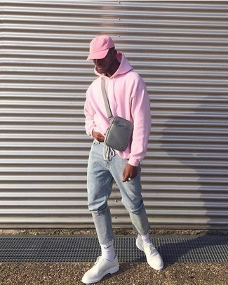 How to Wear a Pink Baseball Cap For Men: Pair a pink hoodie with a pink baseball cap for equally stylish and easy-to-wear look. You can get a bit experimental on the shoe front and spruce up this ensemble by wearing a pair of white leather derby shoes.