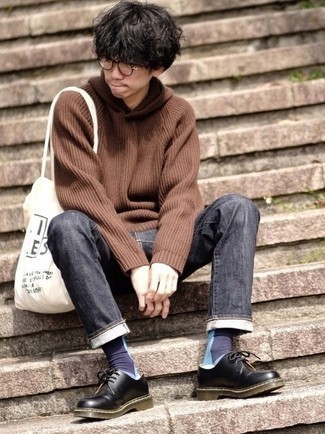Charcoal Jeans Outfits For Men: Consider wearing a brown knit hoodie and charcoal jeans for a relaxed take on day-to-day getups. Feeling transgressive today? Spice things up by sporting black leather derby shoes.