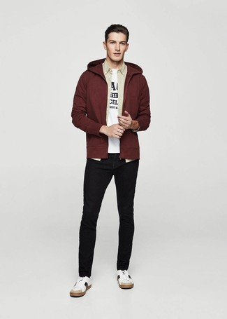 Men S Burgundy Hoodie Beige Long Sleeve Shirt White And Black