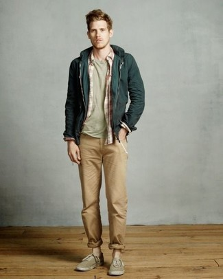 A dark green hoodie and Lands' End Plain Front Tailored Fit Original Chino Pants feel perfectly suited for weekend activities of all kinds. Tan canvas low top sneakers are an easy option here. Can you see how super easy it is to look on-trend and stay toasty come fall, thanks to this look?