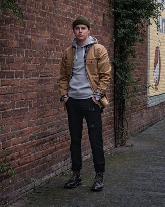 Olive Beanie Outfits For Men: Wear a grey hoodie and an olive beanie for relaxed dressing with an urban finish. On the fence about how to complete this ensemble? Round off with a pair of black leather casual boots to turn up the style factor.