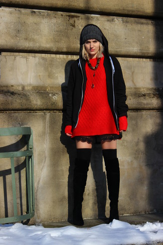 How to wear: black hoodie, red knit oversized sweater, black lace shorts, black suede over the knee boots