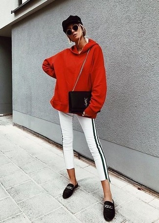 Pair a red hoodie with white and black vertical striped skinny pants, if you feel like relaxed dressing without looking like a hobo. J.Crew Charlie Penny Loafers In Suede will add a touch of polish to an otherwise low-key look. Keep the autumn blues at bay in a killer outfit like this one.