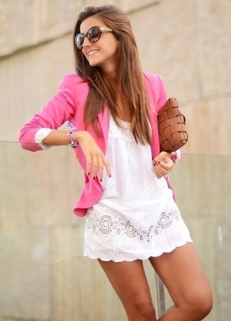 How to wear: hot pink blazer, white lace casual dress, brown woven leather clutch, dark brown sunglasses