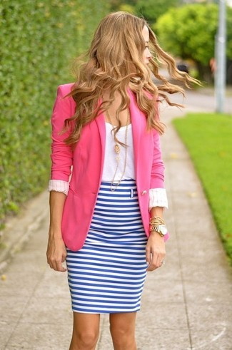 Wear a deep pink blazer jacket and a white and blue horizontal striped pencil skirt for a standout ensemble. We love that this outfit is great when spring sets it.