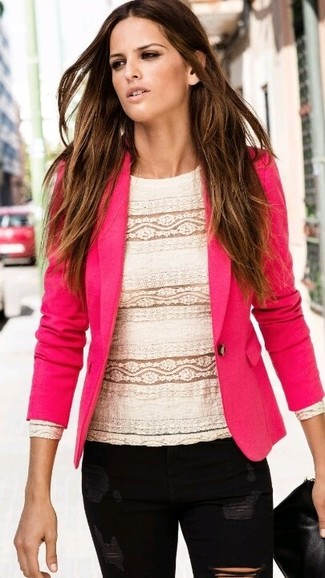 Consider wearing a hot pink blazer and black distressed skinny jeans for both chic and easy-to-wear look.