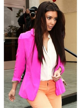 Kim Kardashian wearing Hot Pink Blazer, White Silk Dress Shirt ...