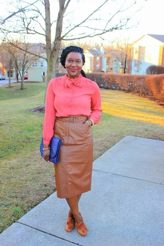 This Combination Of A Hot Pink Button Down Blouse And Khaki Leather Pencil Skirt Is