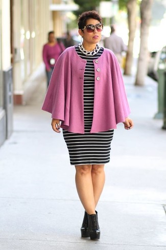 How to Wear a Pink Cape Coat: Putting together a pink cape coat with a black and white horizontal striped bodycon dress is an amazing option for a relaxed casual but stylish ensemble. Look at how well this ensemble is complemented with a pair of black leather lace-up ankle boots.