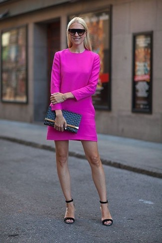 How to wear: hot pink casual dress, black leather heeled sandals, navy leather clutch, black sunglasses