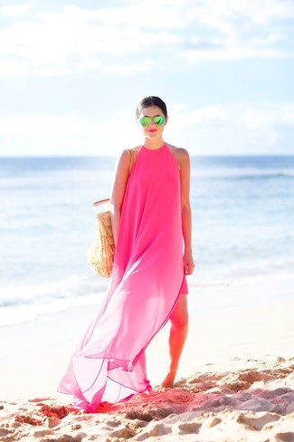 How to wear: hot pink chiffon maxi dress, tan crochet tote bag, green sunglasses