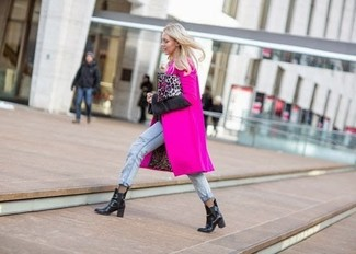 How to wear: hot pink coat, light blue jeans, black leather chelsea boots, grey leopard leather clutch