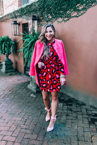 How to wear: hot pink coat, red leopard shift dress, pink canvas pumps