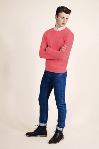 Men's Hot Pink Crew-neck Sweater, Beige Dress Shirt, Blue Skinny ...