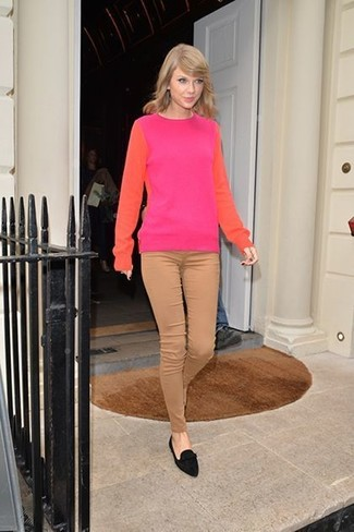 Taylor Swift wearing Hot Pink Crew-neck Sweater, Tan Skinny Pants, Black Suede Loafers
