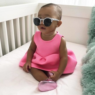 How to wear: hot pink dress, hot pink ballet flats, white and black sunglasses