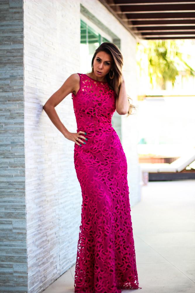 Women\'s Hot Pink Evening Dress, Gold Earrings | Women\'s Fashion
