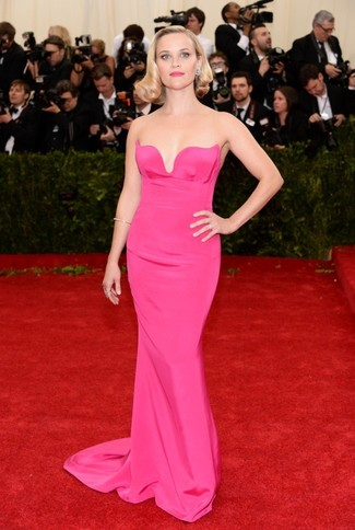Reese Witherspoon wearing Hot Pink Evening Dress