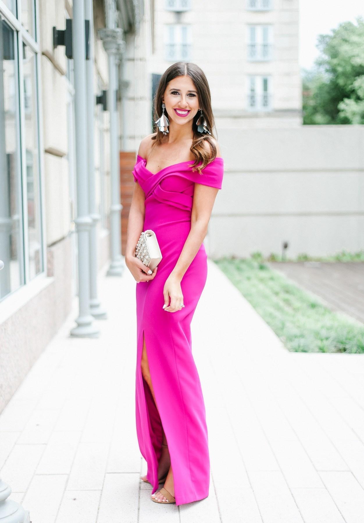 Women\'s Hot Pink Evening Dress, Tan Leather Heeled Sandals, Beige ...