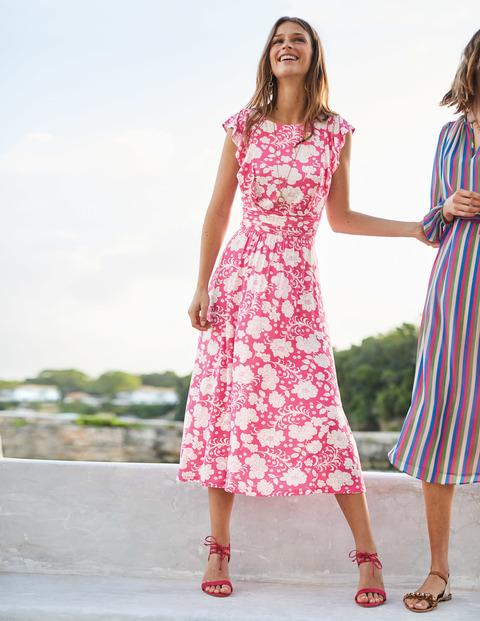 Women's Hot Pink Floral Midi Dress, Hot