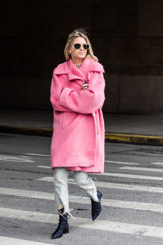 How to wear: hot pink fur coat, light blue ripped jeans, navy satin ankle boots