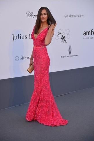 Irina Shayk wearing Hot Pink Lace Evening Dress, Gold Clutch
