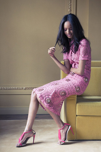 How to wear: hot pink lace short sleeve blouse, hot pink lace midi skirt, hot pink leather heeled sandals