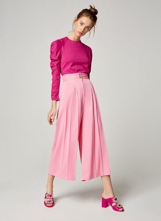 Pink Satin Heeled Sandals Outfits: This pairing of a hot pink long sleeve blouse and pink culottes speaks comfort without compromising style. A pair of pink satin heeled sandals immediately amps up the fashion factor of your ensemble.