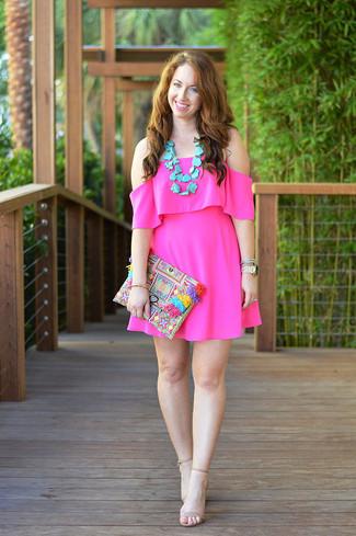 Women's Hot Pink Off Shoulder Dress, Beige Leather Heeled Sandals, Multi colored Beaded Clutch, Aquamarine Necklace
